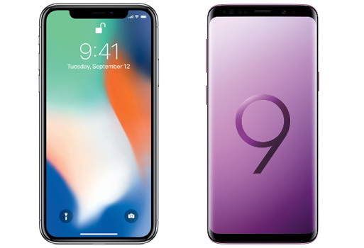Apple iPhone X (left), Samsung Galaxy S9 +