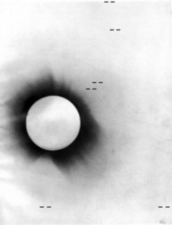 A negative photo of the 1919 solar eclipse (Copyright ESA/NASA)